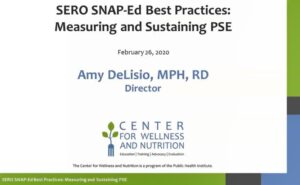 SERO SNAP-Ed Best Practices presentation screen